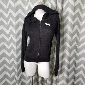 PINK VICTORIA'S SECRET black zip up hoodie